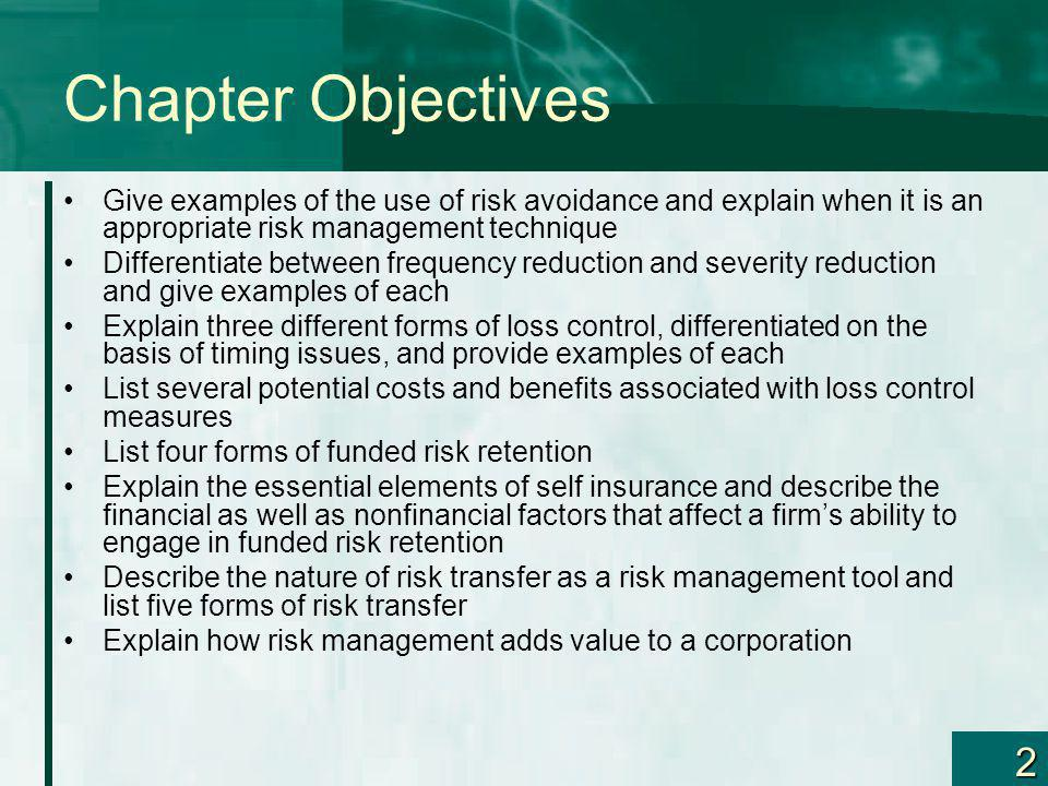 Chapter Objectives Give examples of the use of risk avoidance and explain when it is an appropriate risk management technique.