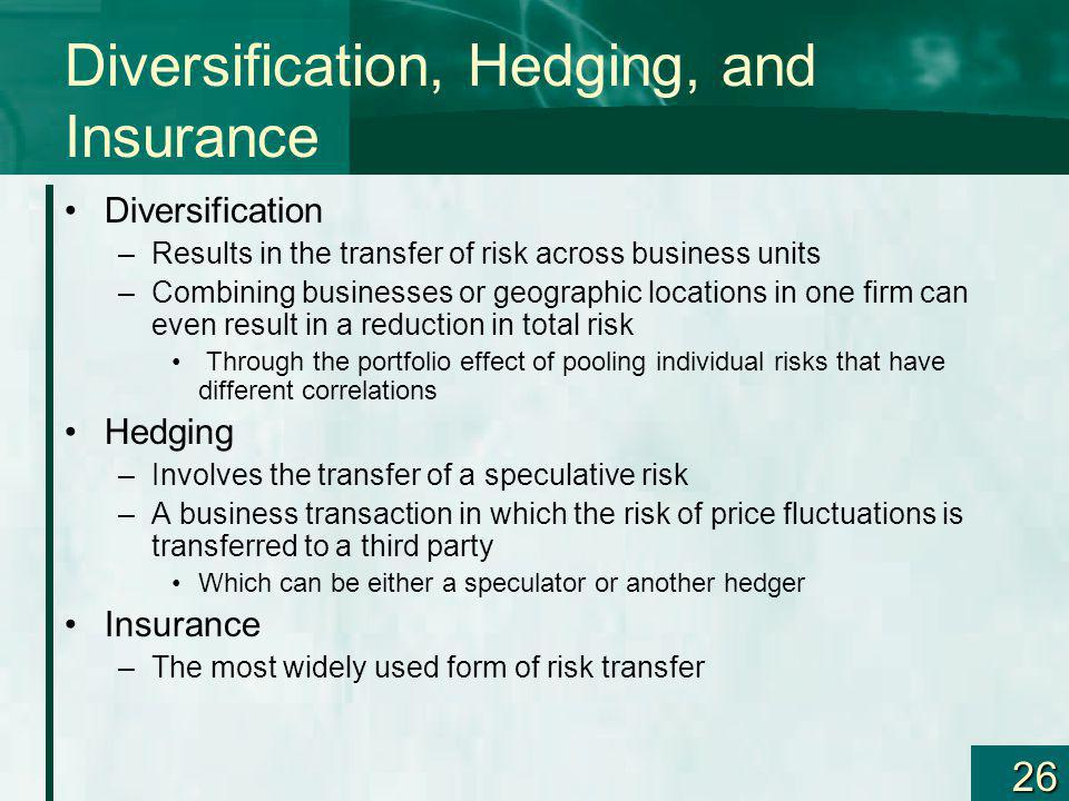 Diversification, Hedging, and Insurance