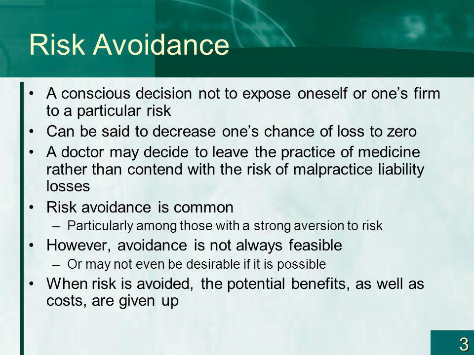 Risk Avoidance A conscious decision not to expose oneself or one's firm to a particular risk. Can be said to decrease one's chance of loss to zero.