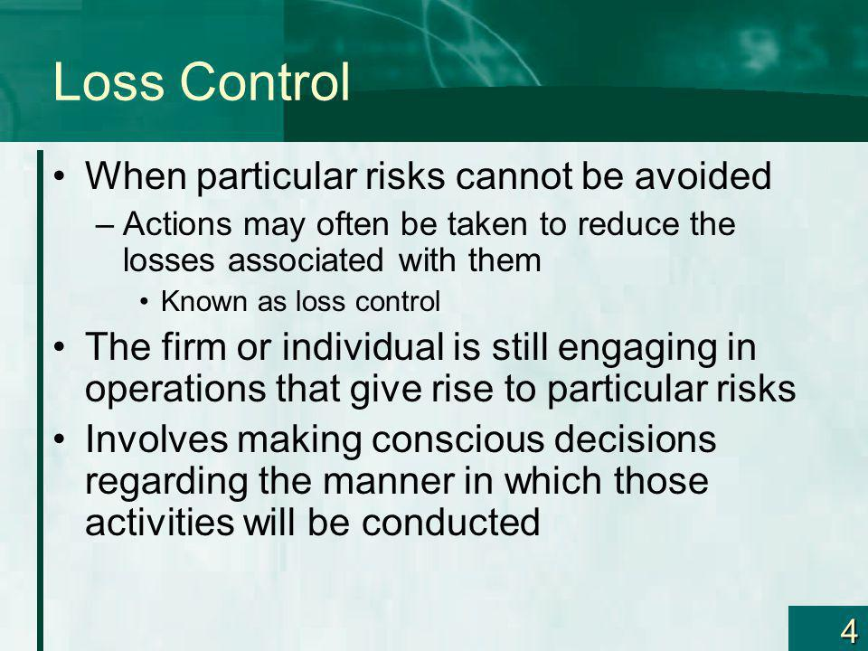 Loss Control When particular risks cannot be avoided