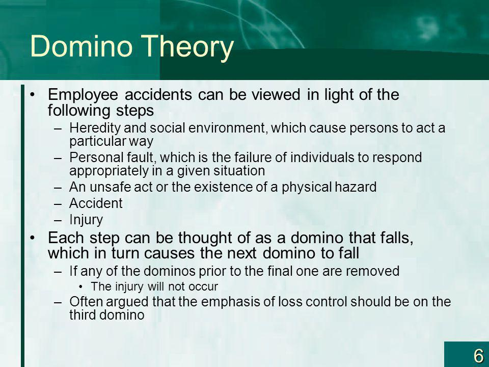 Domino Theory Employee accidents can be viewed in light of the following steps.