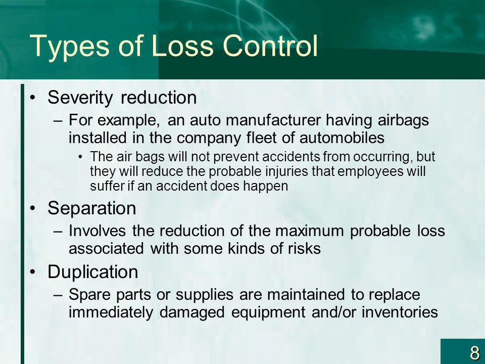 Types of Loss Control Severity reduction Separation Duplication