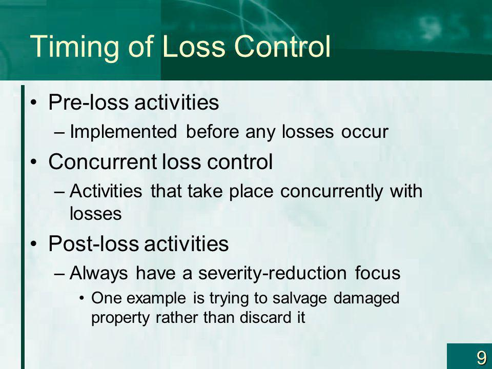 Timing of Loss Control Pre-loss activities Concurrent loss control