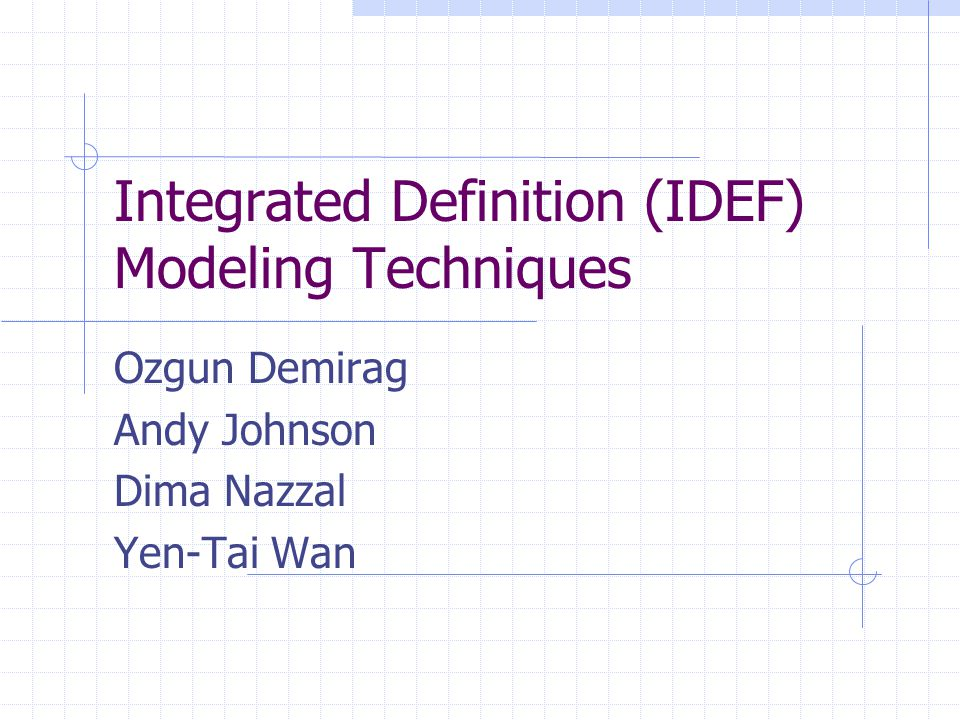 Integrated Definition (IDEF) Modeling Techniques