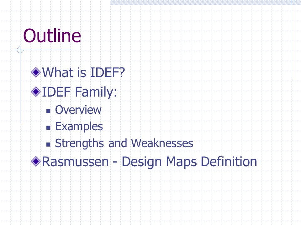 Outline What is IDEF IDEF Family: Rasmussen - Design Maps Definition