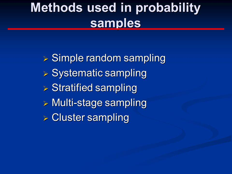 Methods used in probability samples
