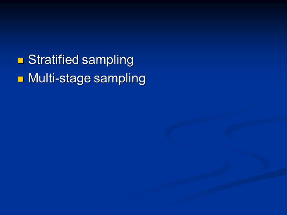 Stratified sampling Multi-stage sampling