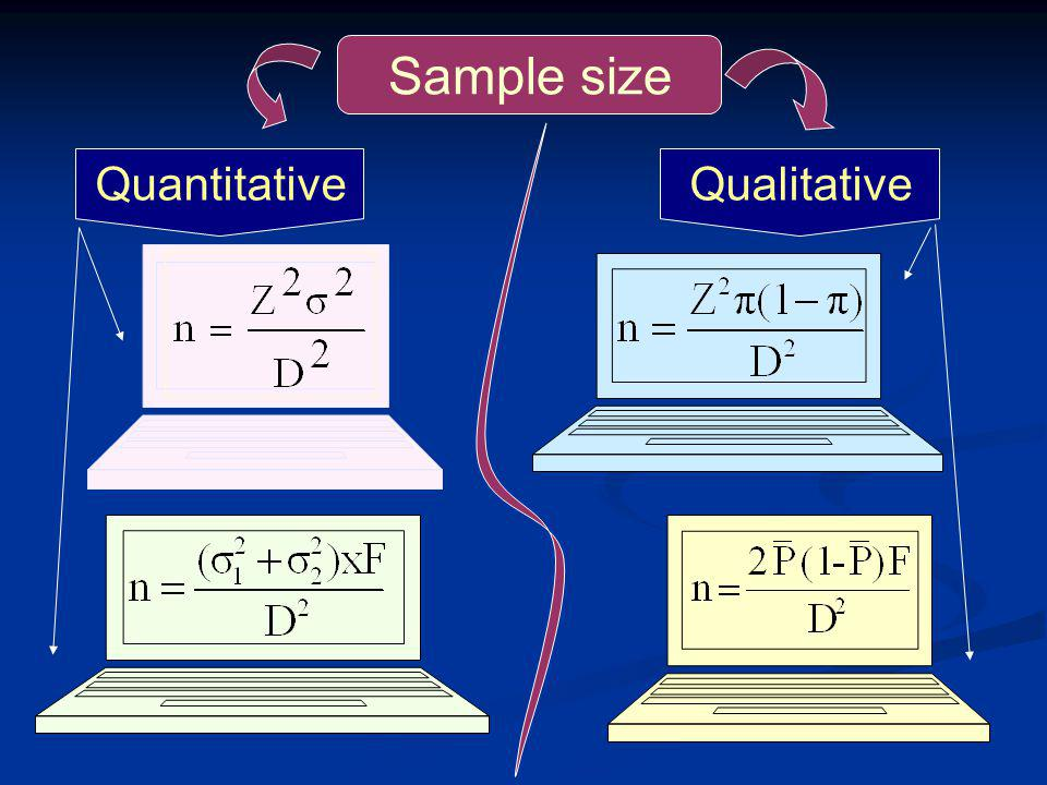 Sample size Quantitative Qualitative