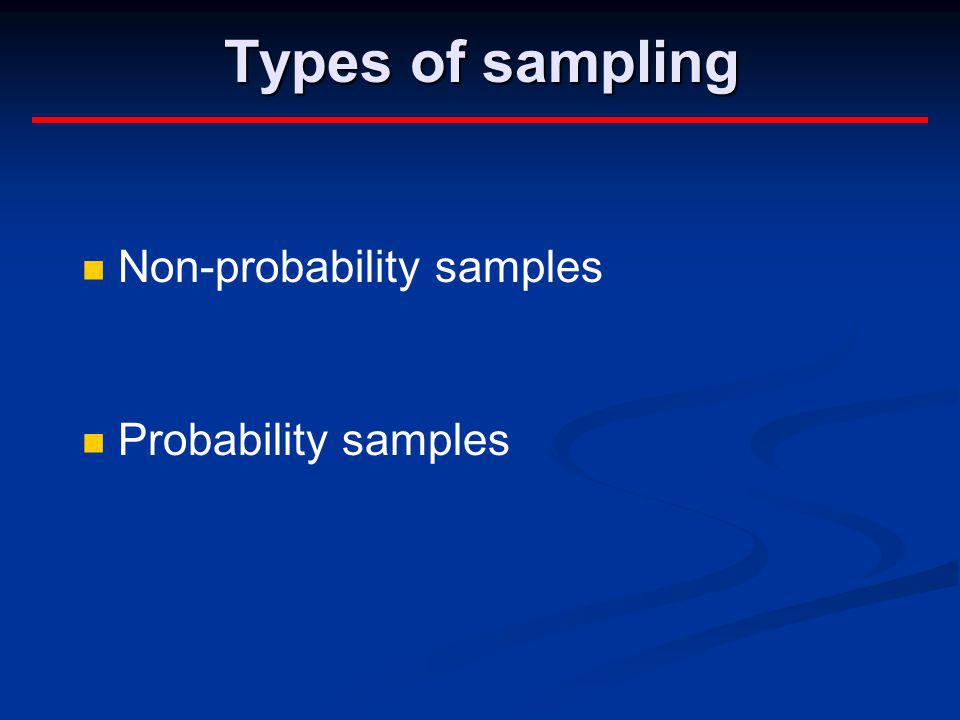 Types of sampling Non-probability samples Probability samples