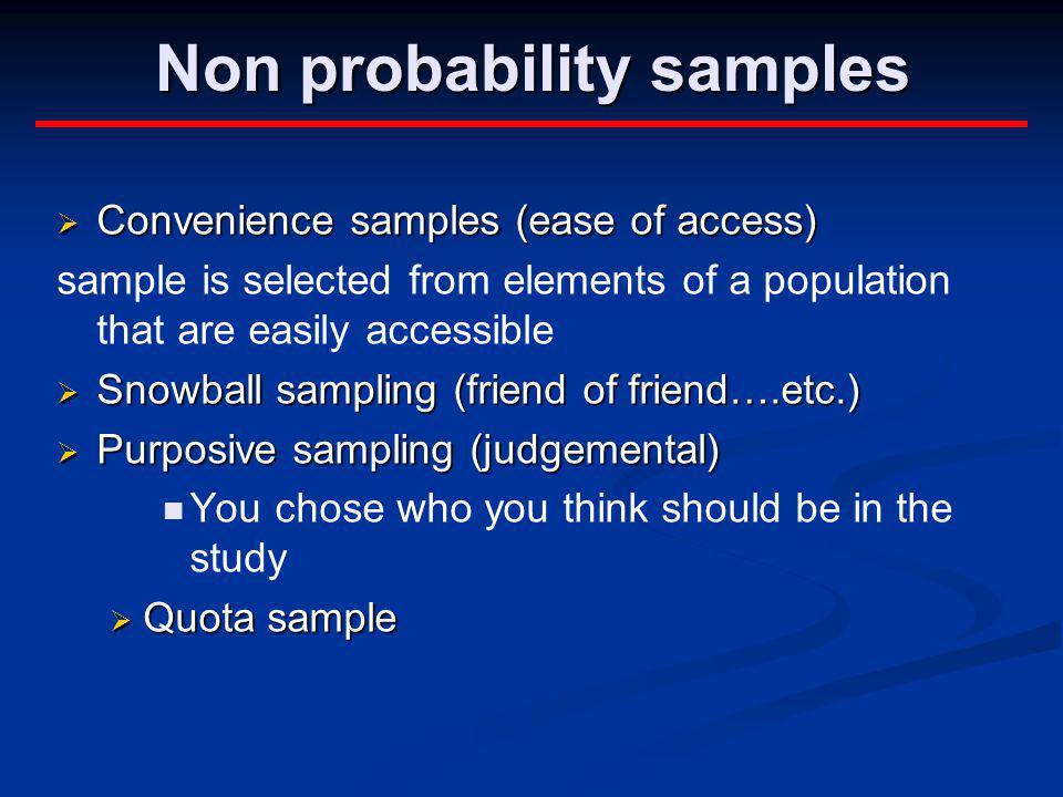 Non probability samples