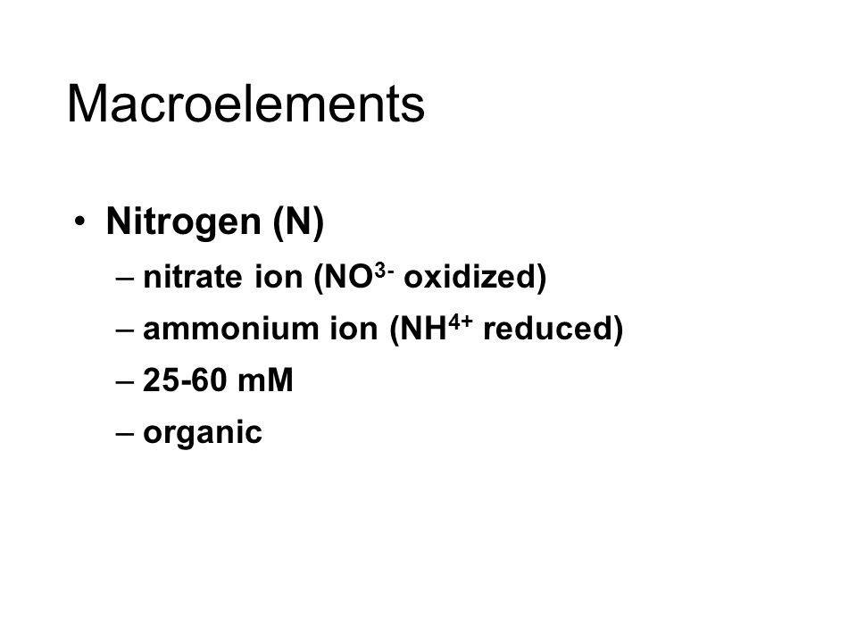 Macroelements Nitrogen (N) nitrate ion (NO3- oxidized)