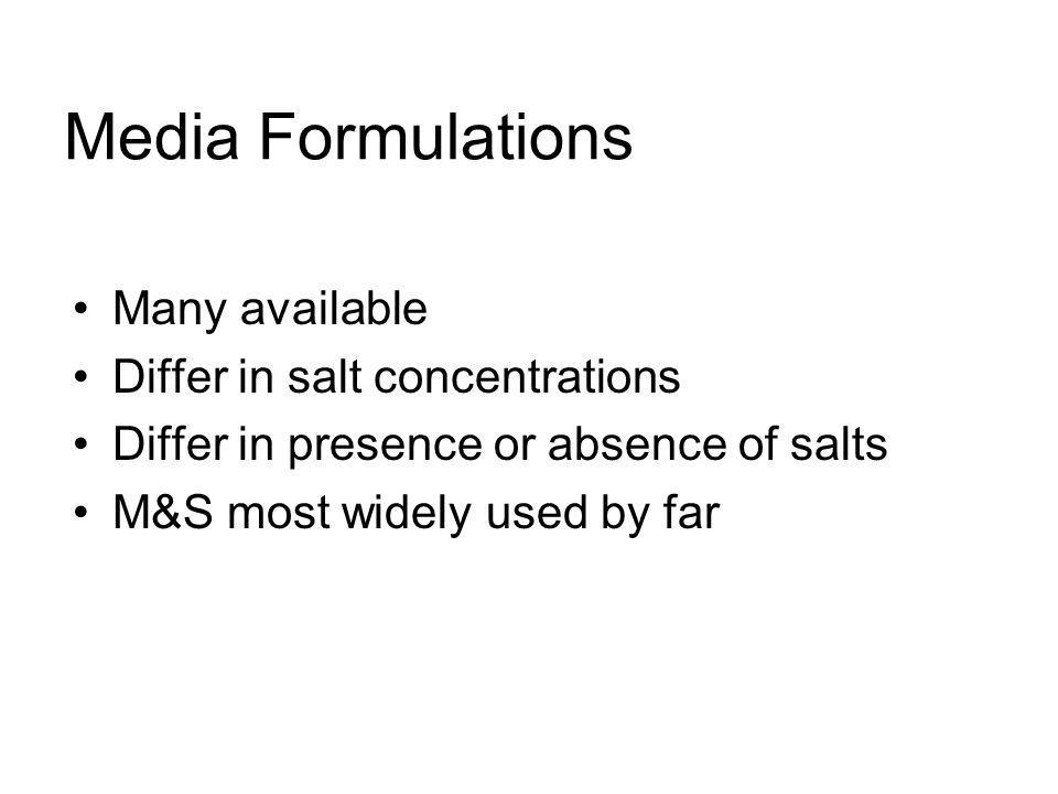 Media Formulations Many available Differ in salt concentrations