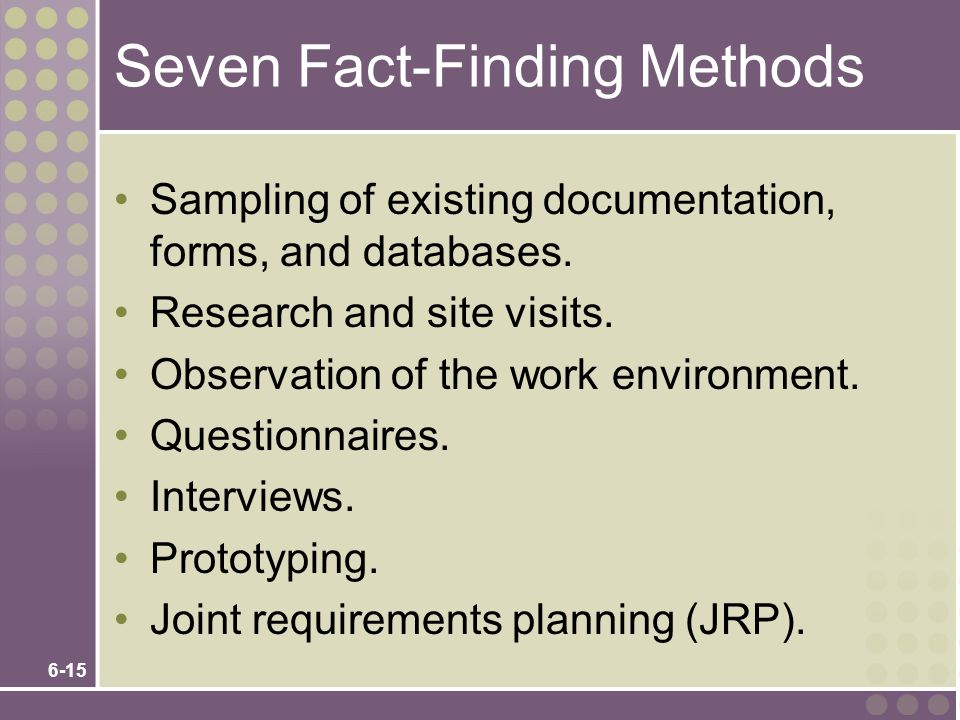 Seven Fact-Finding Methods