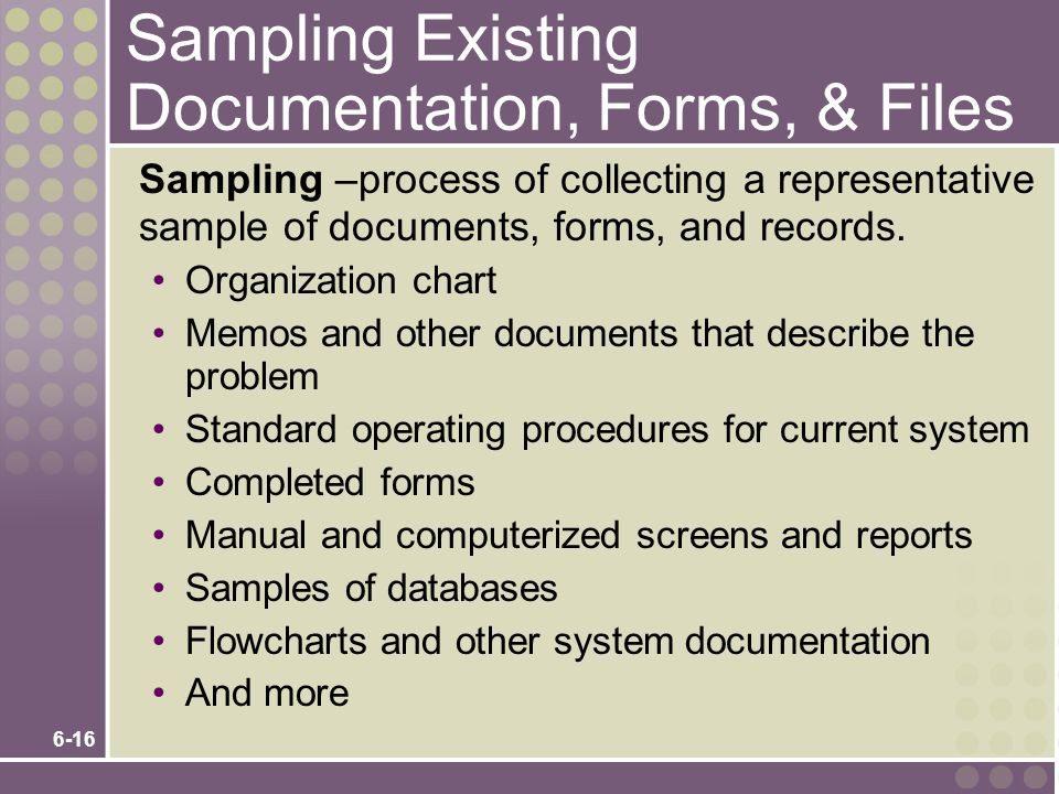 Sampling Existing Documentation, Forms, & Files