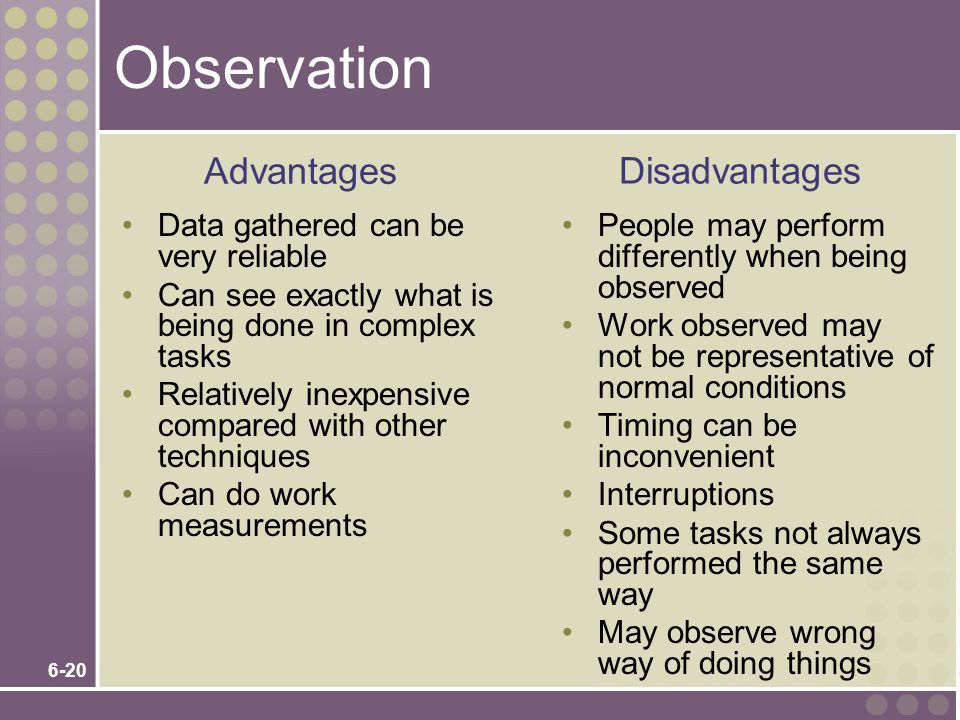 Observation Advantages Disadvantages