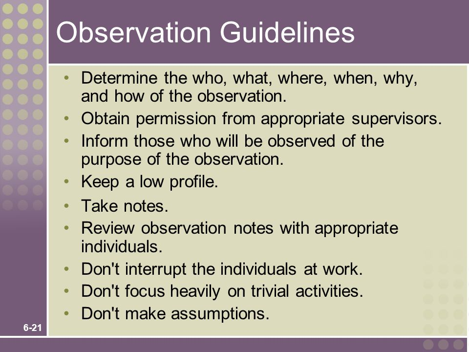 Observation Guidelines