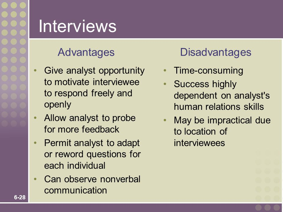Interviews Advantages Disadvantages