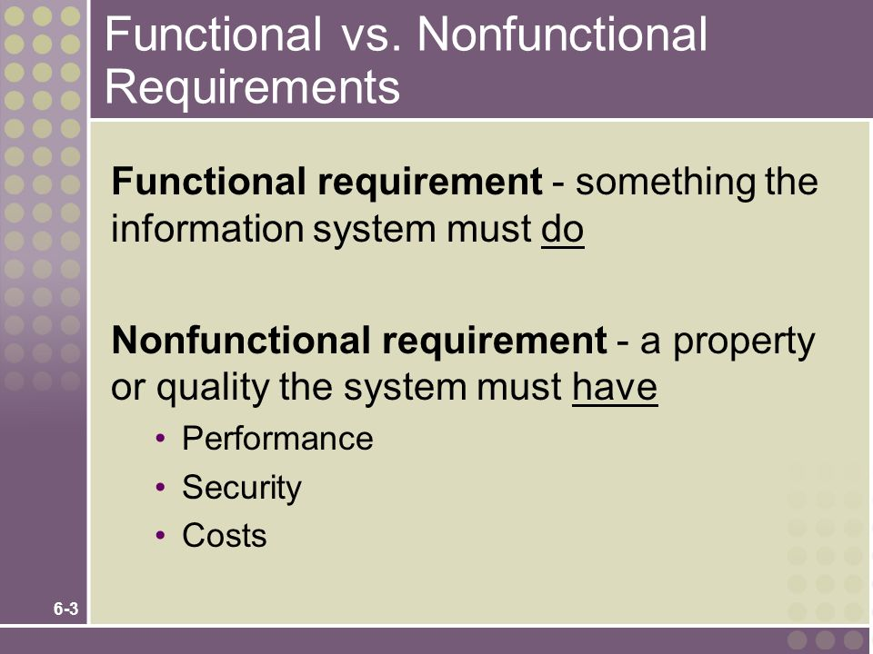 Functional vs. Nonfunctional Requirements