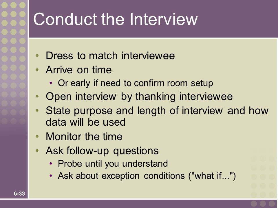 Conduct the Interview Dress to match interviewee Arrive on time