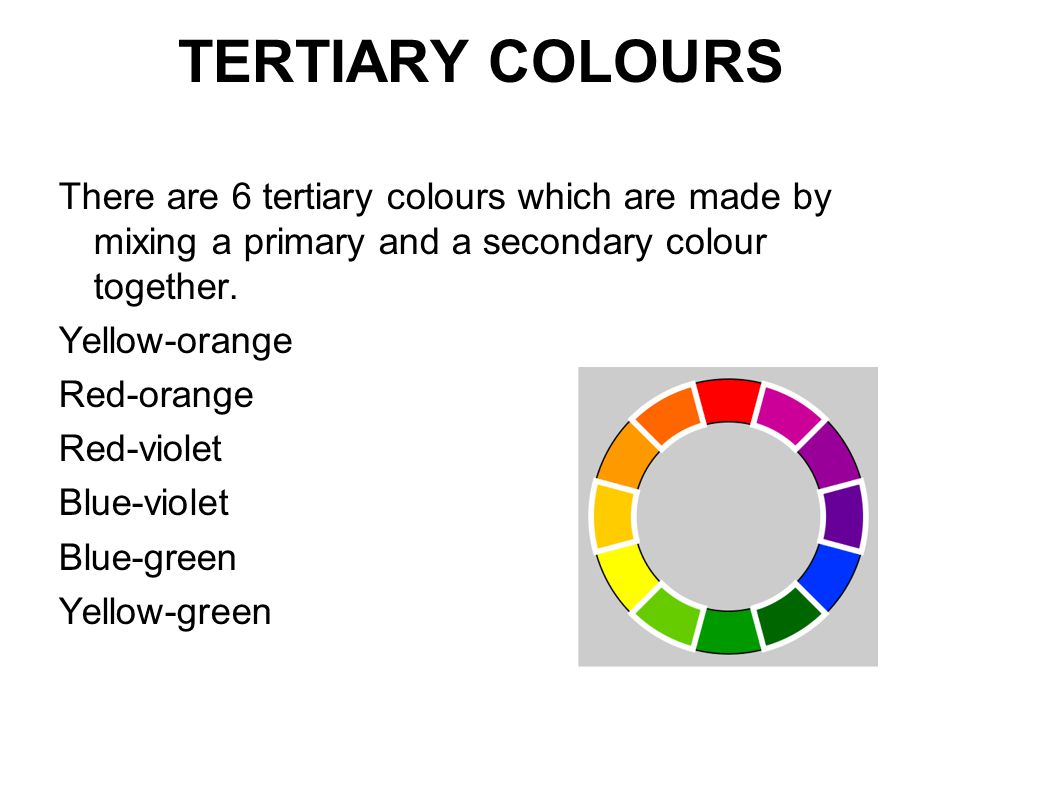 TERTIARY COLOURS There are 6 tertiary colours which are made by mixing a primary and a secondary colour together.