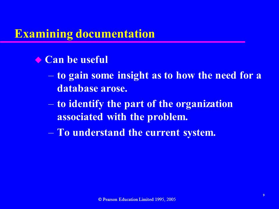 Examining documentation