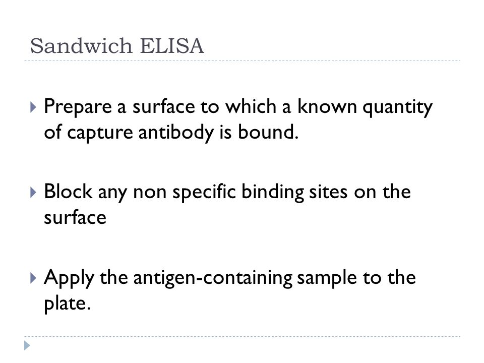 Sandwich ELISA Prepare a surface to which a known quantity of capture antibody is bound. Block any non specific binding sites on the surface.