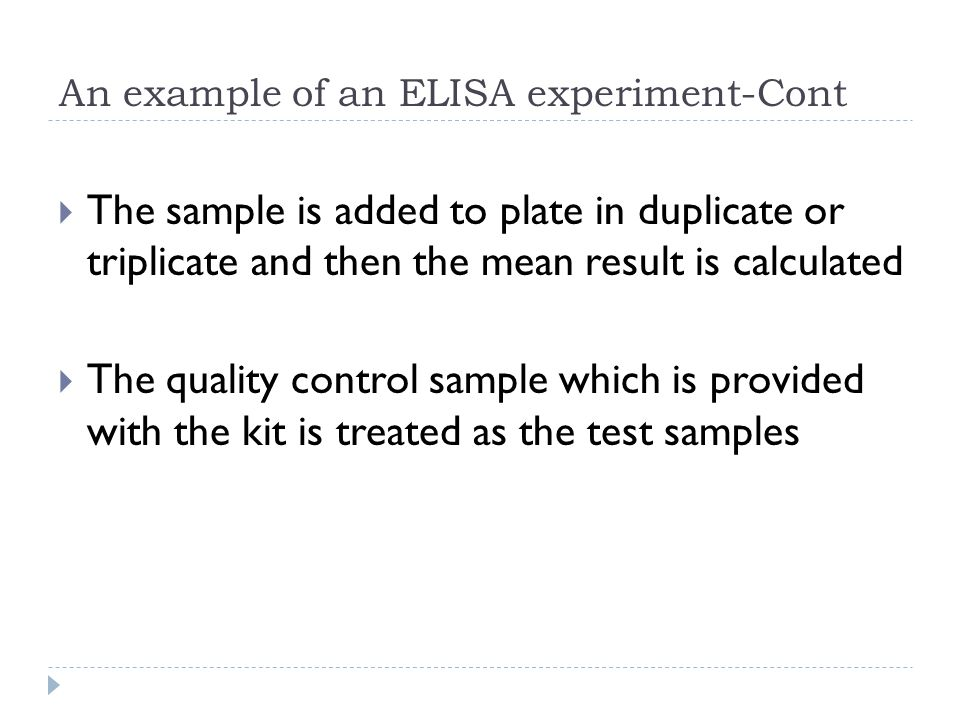 An example of an ELISA experiment-Cont