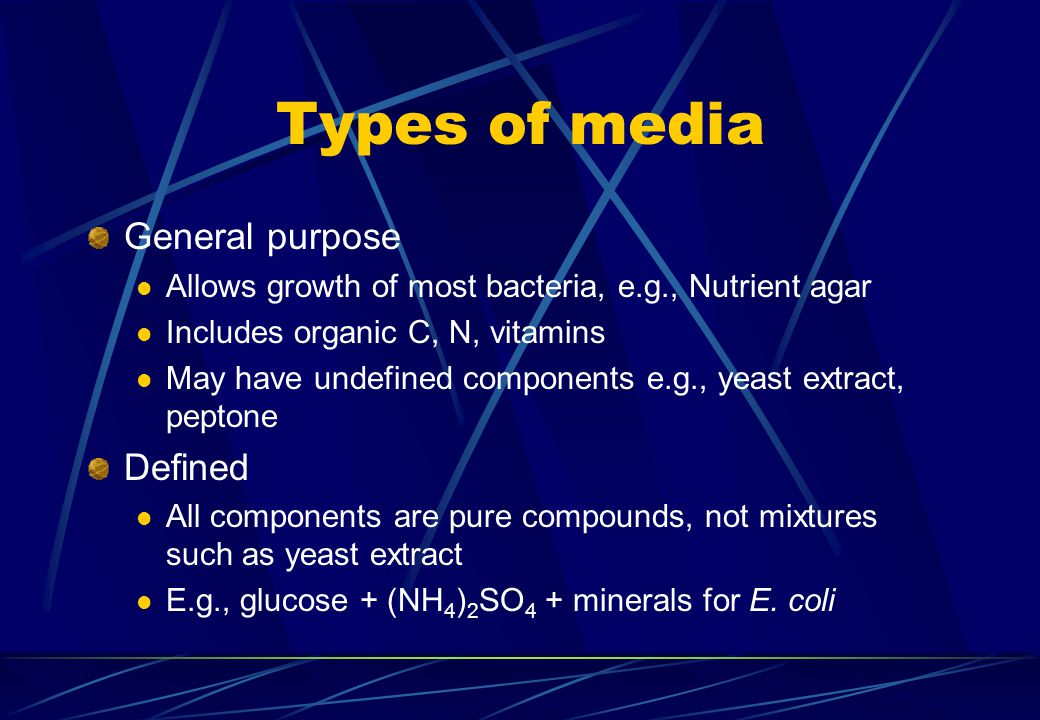 Types of media General purpose Defined