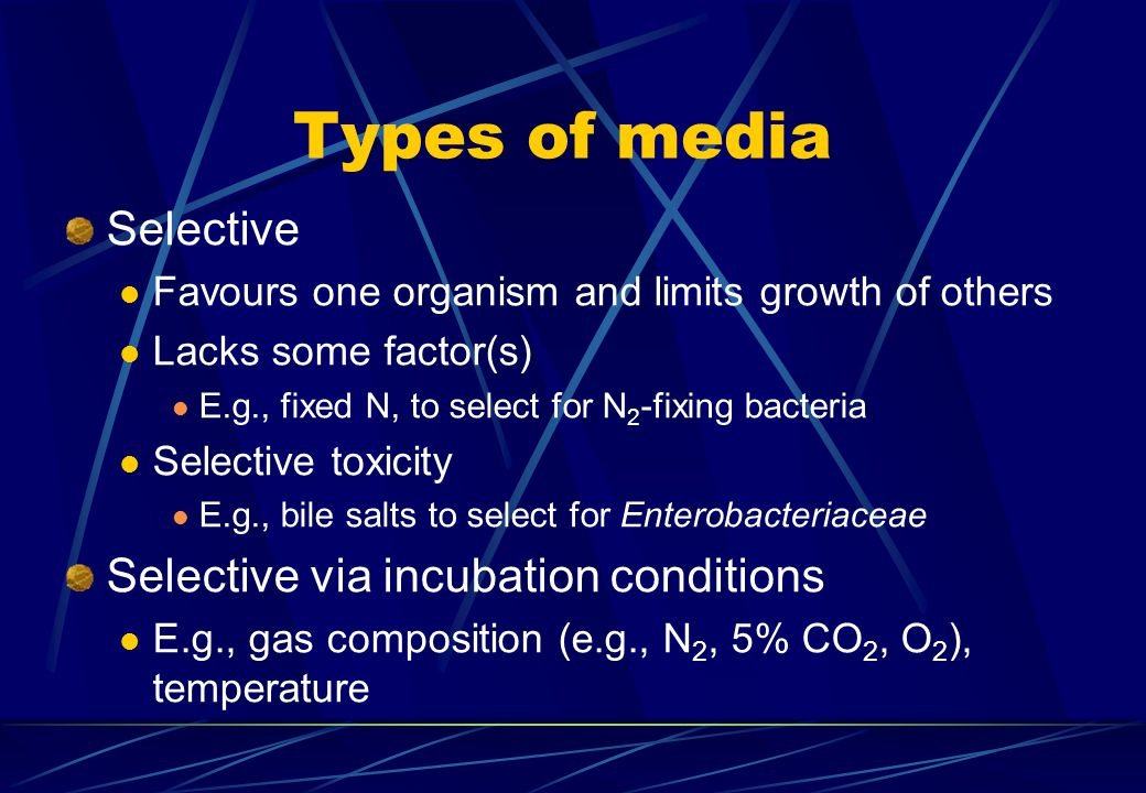 For MICR 2909 Lecture 2, 2001 BSc(MolBiol) Lect 2.ppt Types of media