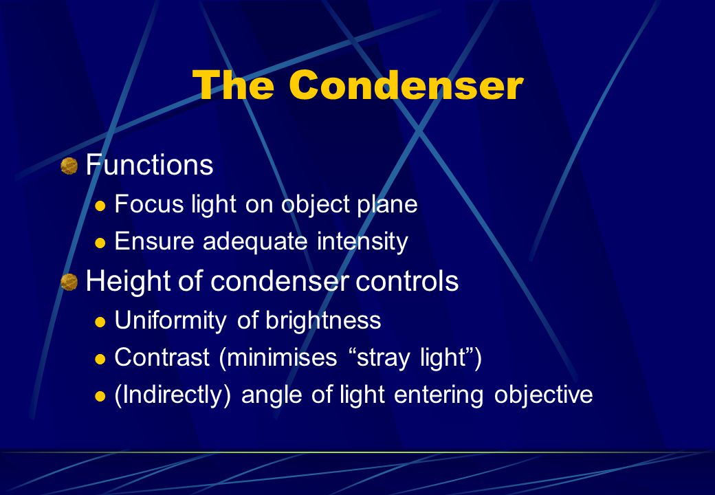 The Condenser Functions Height of condenser controls
