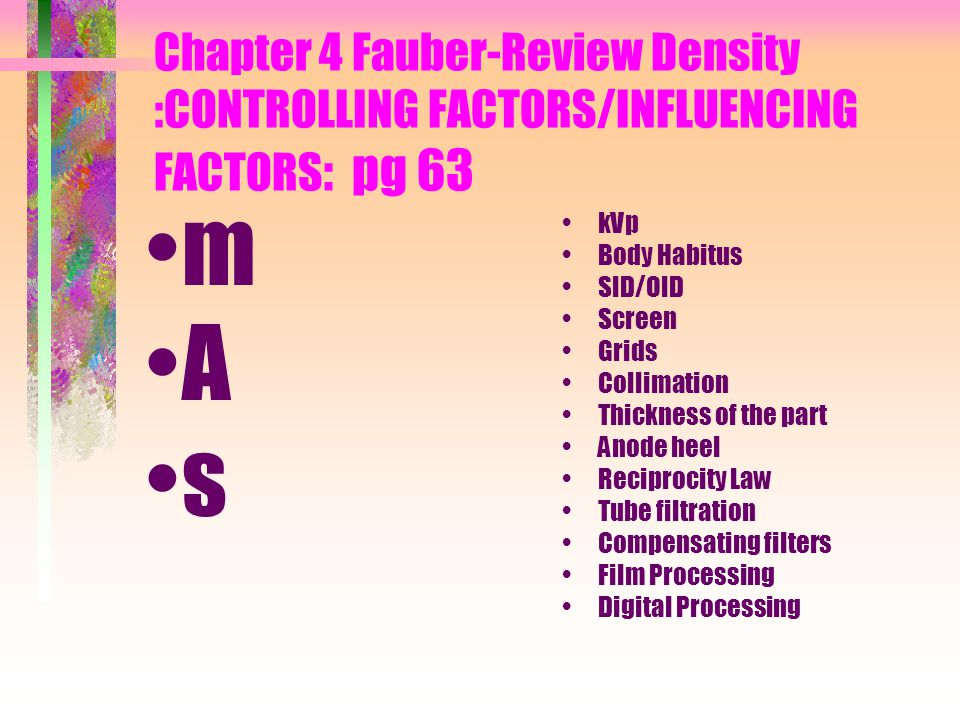 Chapter 4 Fauber-Review Density :CONTROLLING FACTORS/INFLUENCING FACTORS: pg 63