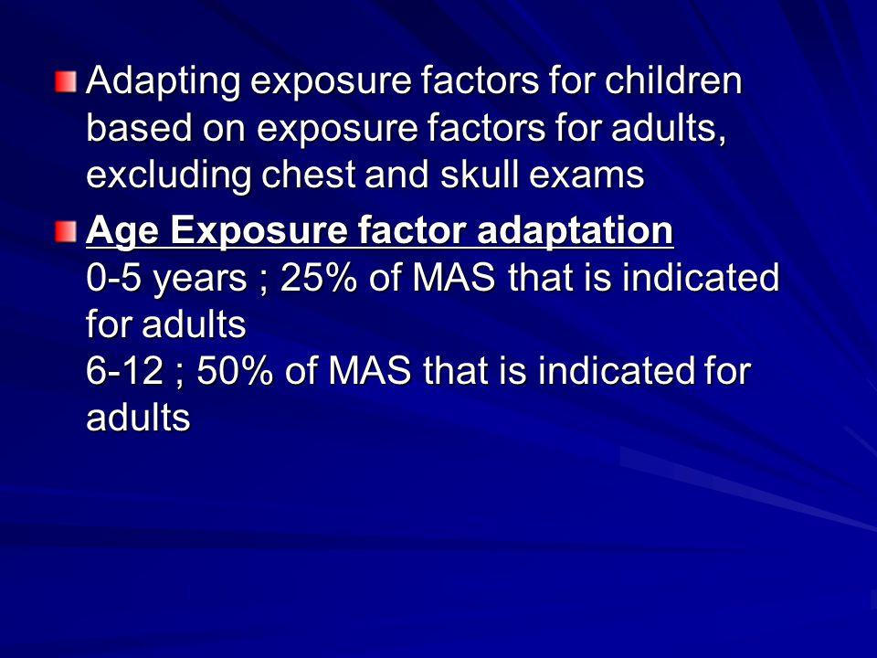 Adapting exposure factors for children based on exposure factors for adults, excluding chest and skull exams