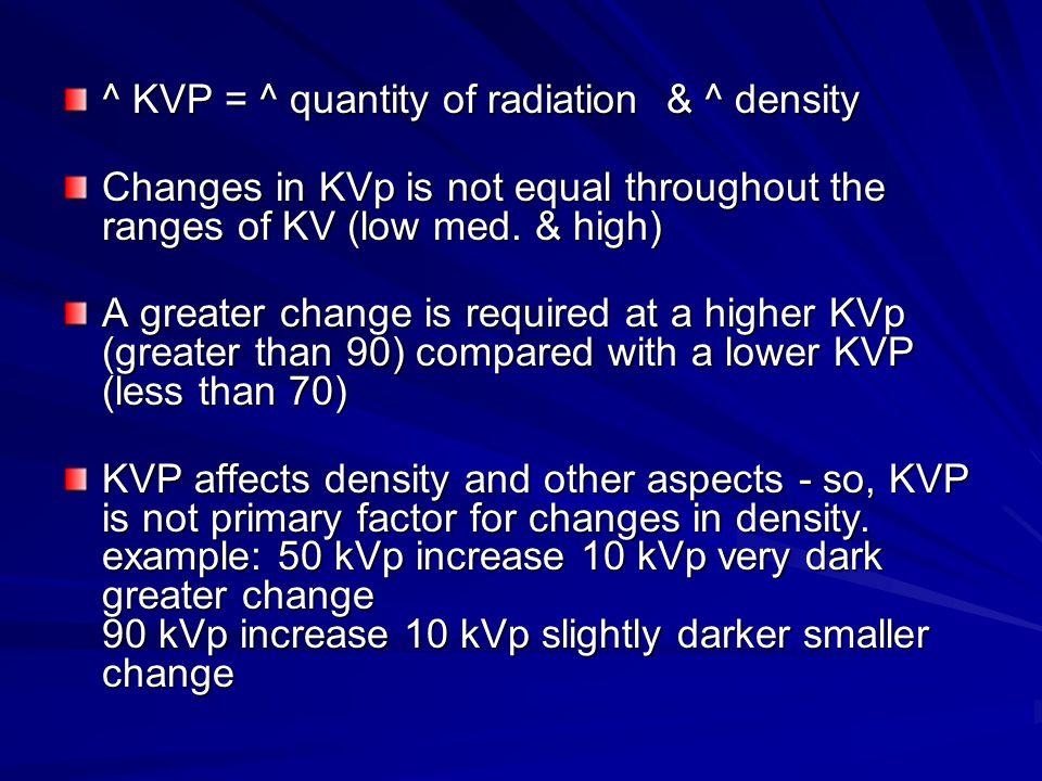^ KVP = ^ quantity of radiation & ^ density