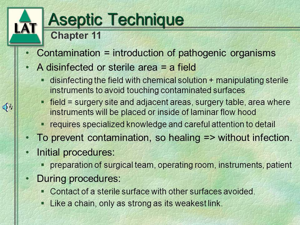 Aseptic Technique Contamination = introduction of pathogenic organisms