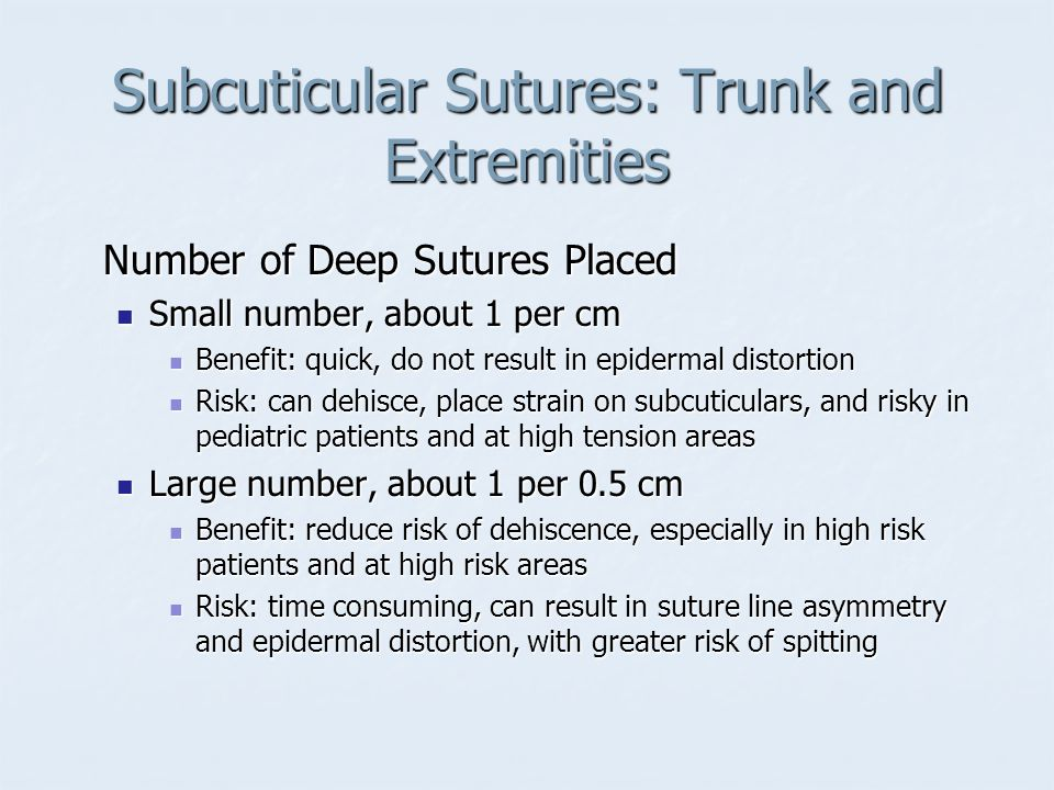 Subcuticular Sutures: Trunk and Extremities