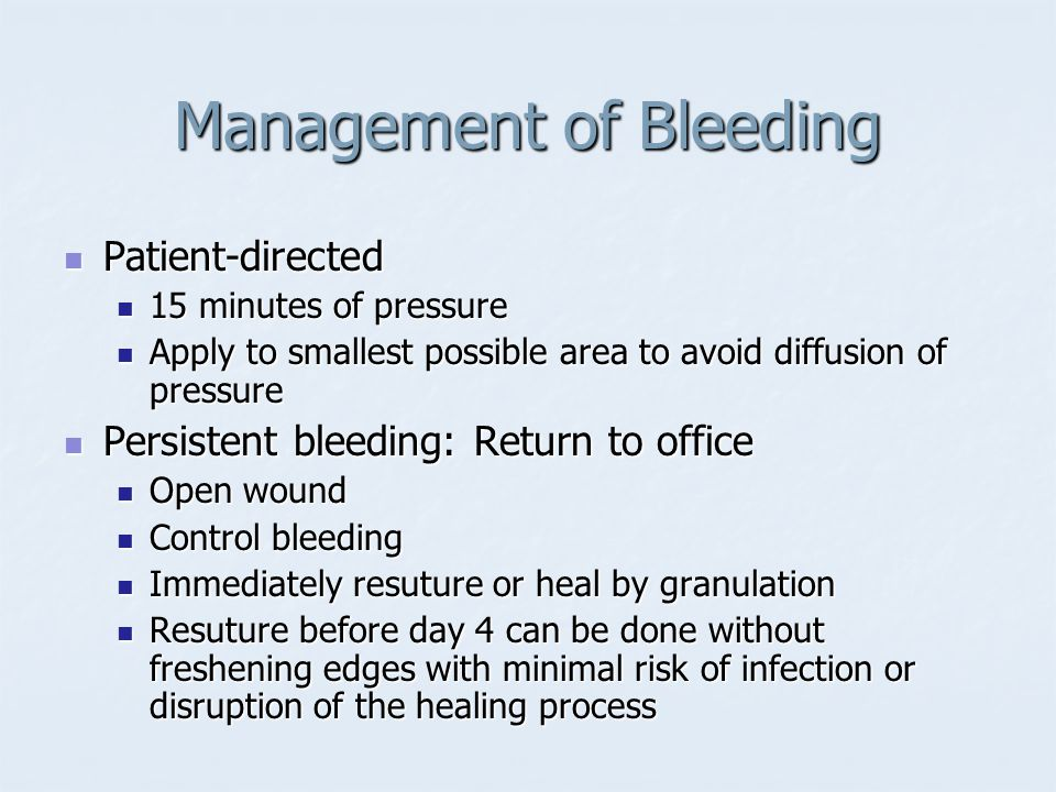 Management of Bleeding
