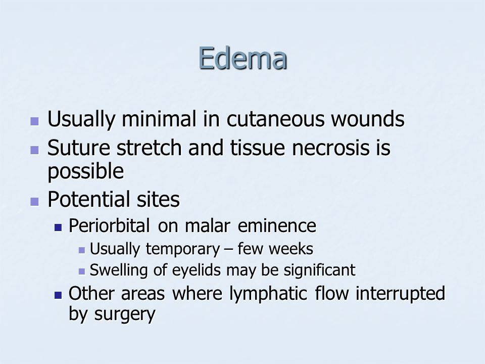 Edema Usually minimal in cutaneous wounds