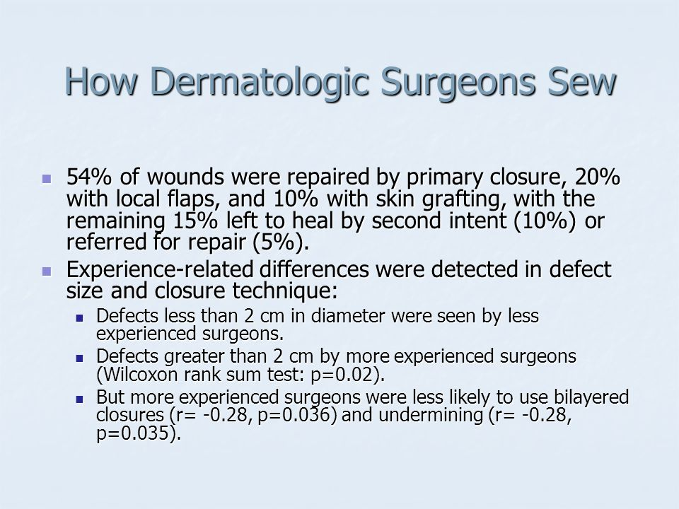 How Dermatologic Surgeons Sew