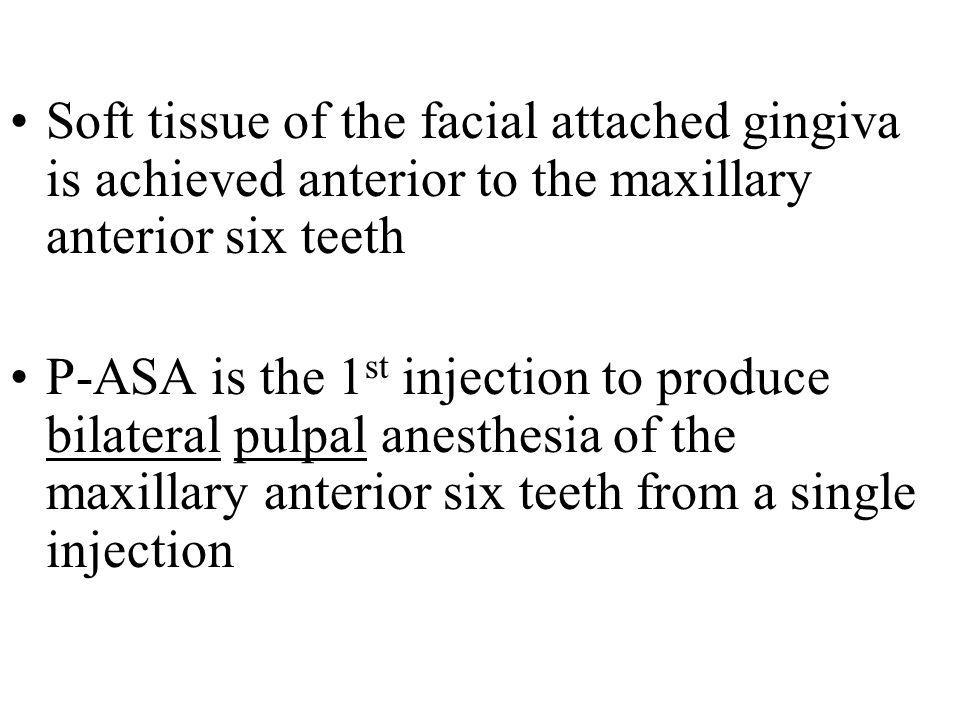 Soft tissue of the facial attached gingiva is achieved anterior to the maxillary anterior six teeth