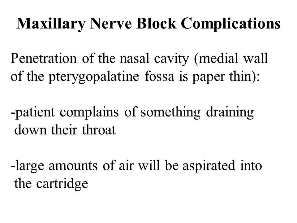 Maxillary Nerve Block Complications