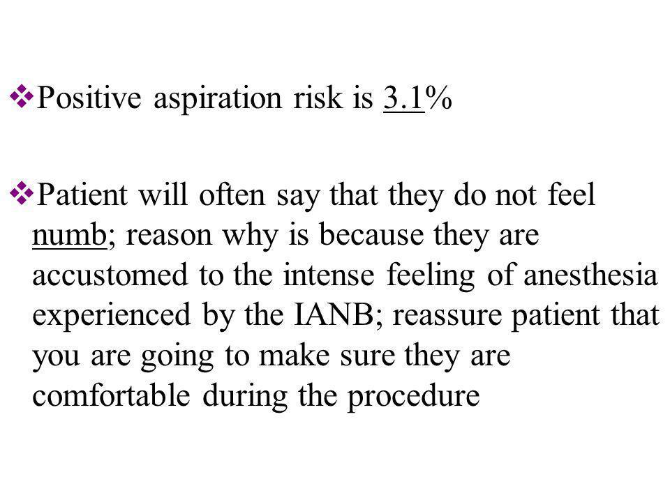 Positive aspiration risk is 3.1%