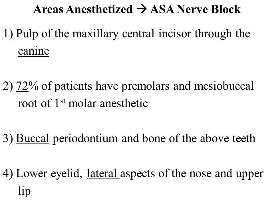 Areas Anesthetized  ASA Nerve Block 1) Pulp of the maxillary central incisor through the canine 2) 72% of patients have premolars and mesiobuccal root of 1st molar anesthetic 3) Buccal periodontium and bone of the above teeth 4) Lower eyelid, lateral aspects of the nose and upper lip