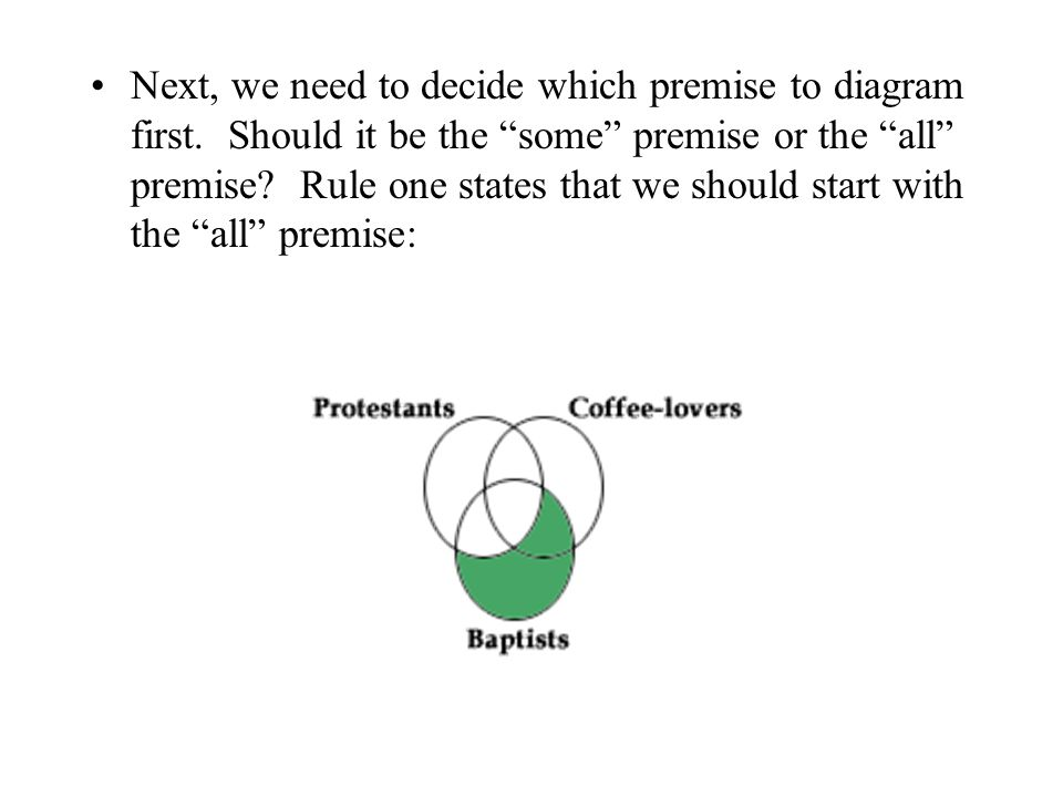 Next, we need to decide which premise to diagram first
