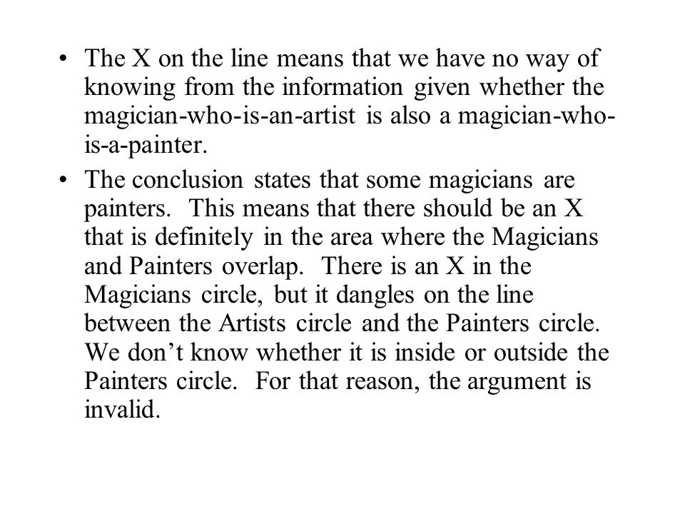The X on the line means that we have no way of knowing from the information given whether the magician-who-is-an-artist is also a magician-who-is-a-painter.