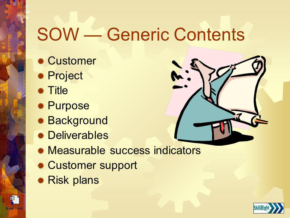 SOW — Generic Contents Customer Project Title Purpose Background