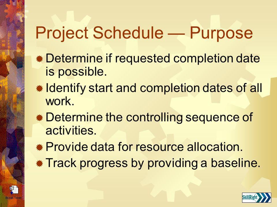 Project Schedule — Purpose