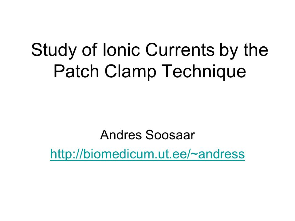 Study of Ionic Currents by the Patch Clamp Technique