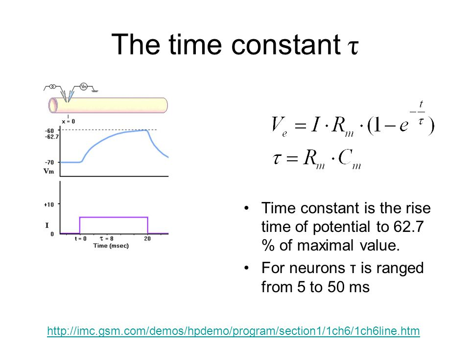 The time constant τ Time constant is the rise time of potential to 62.7 % of maximal value. For neurons τ is ranged from 5 to 50 ms.