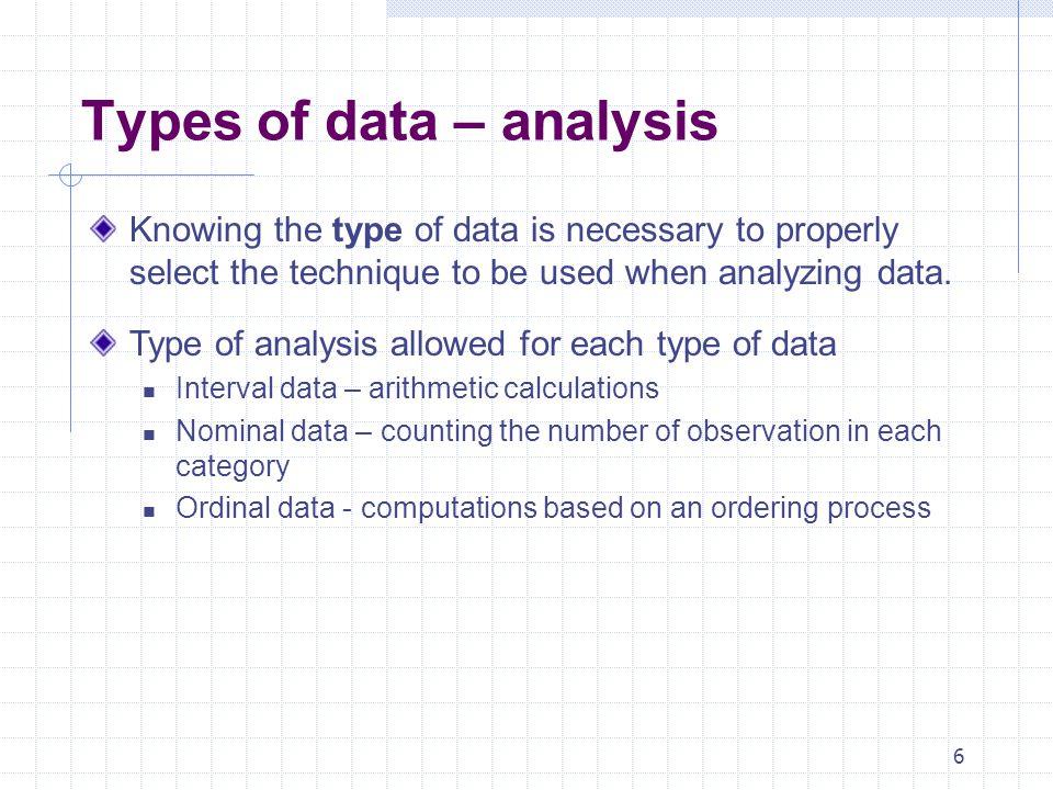 Types of data – analysis