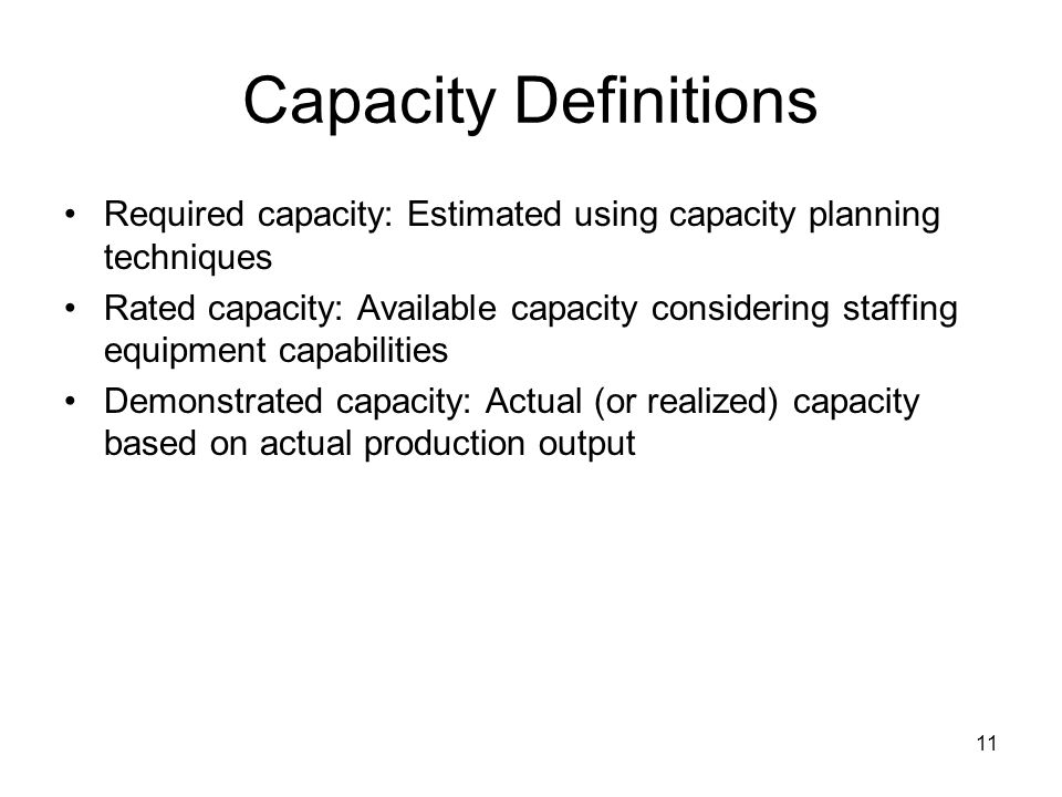 Capacity Definitions Required capacity: Estimated using capacity planning techniques.
